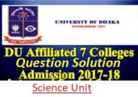 DU 7 College Science Unit Admission Question Solution 2017-18